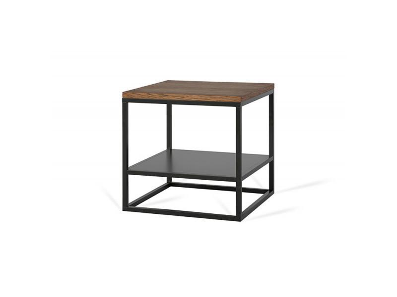Table basse carrée industrielle 40 cm helisa / coloris : chêne foncé