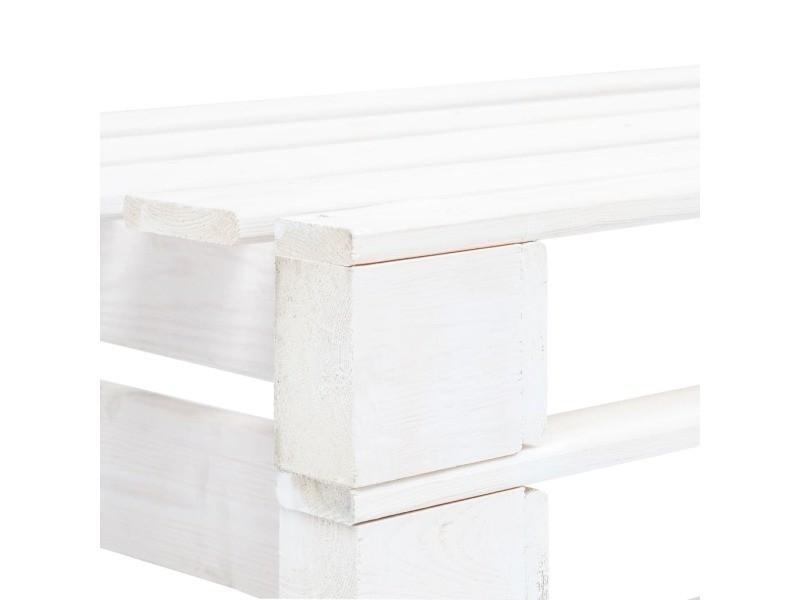 Vidaxl banc palette de jardin bois blanc 45759