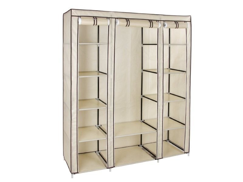 armoires penderie tissu meuble de rangement beige 180 cm helloshop26 2012043 vente de penderie. Black Bedroom Furniture Sets. Home Design Ideas