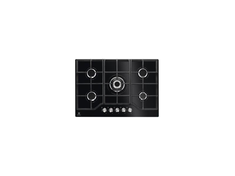 Table de cuisson gaz - 74cm - dessus verre trempé - 5 foyers - 1 wok 3900w - noir