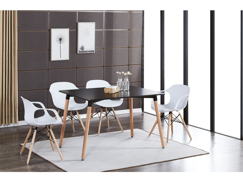 Table noire & 4 chaises modernes blanches alecia halo ...
