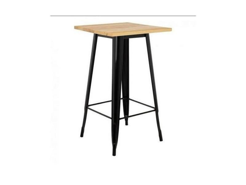 Hombuy® ensemble de table de bar couleur bois et 2 tabourets de bar noir style industriel pour bistrot, cuisine, jardin, restaurant