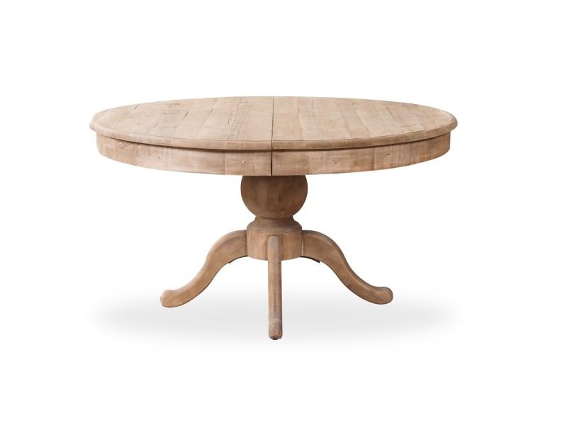 Table ronde extensible en bois massif sidonie bois naturel