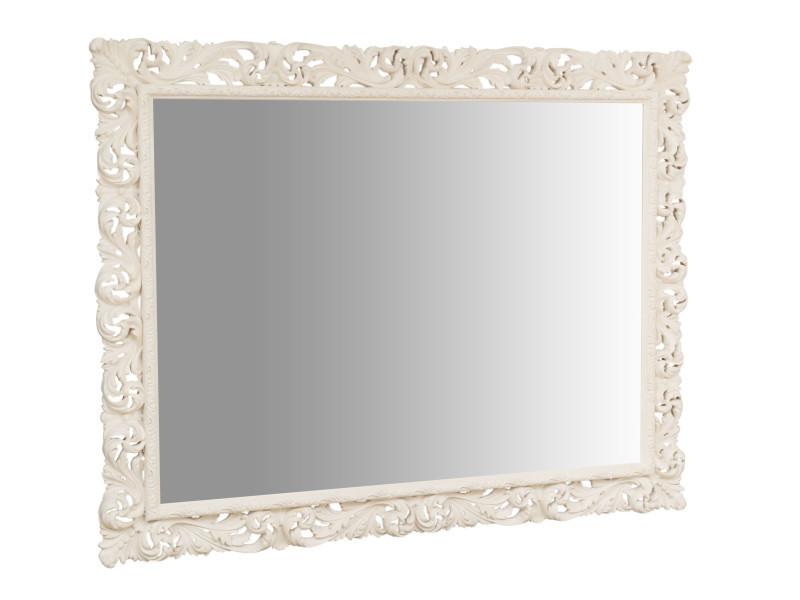 Miroir, long miroir mural rectangulaire, à accrocher au mur, horizontal et vertical, shabby chic, salle de bain, chambre à coucher, cadre finition blanc antique, grand, long, l200xp6xh158 cm. Style shabby chic.