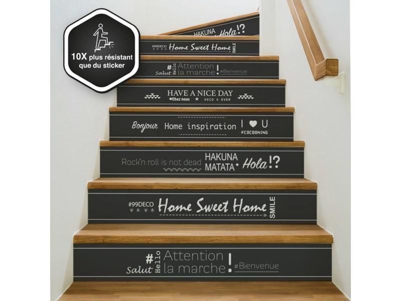 Contremarche escalier pvc mix happy noir 15x100cm - lot de 5