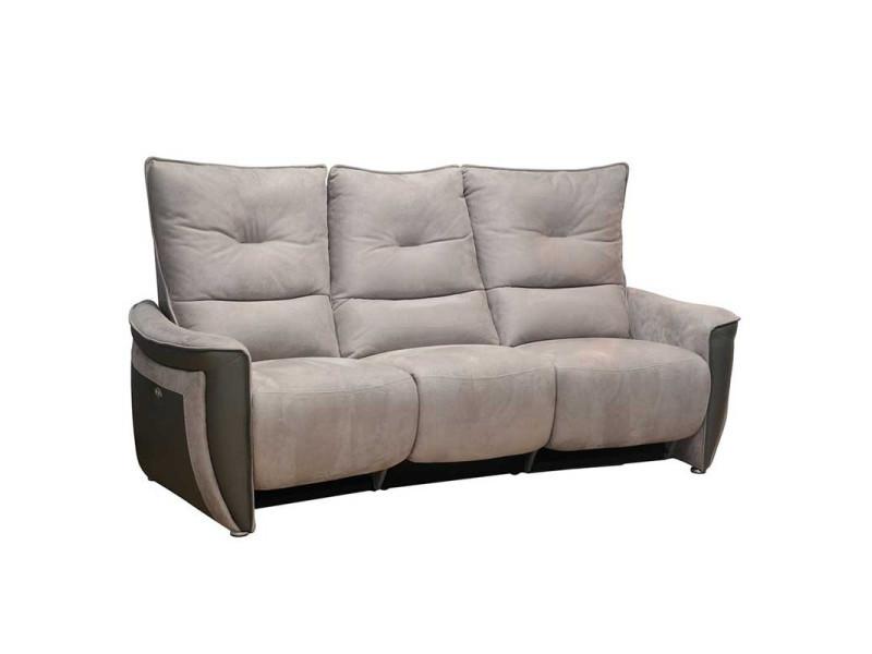 Canapé 3 places relax electrique cuir/tissu gris - zealand - l 213 x l 90 x h 109 - neuf