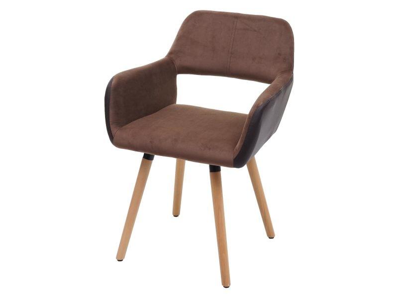 Chaise de salle à manger hwc-a50 ii, design rétro années 50 ~ similicuir/ tissu, marron clair, pieds clairs