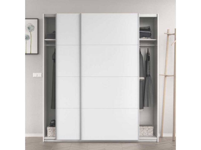 Armoire 2 portes coulissantes blanc brillant - copist - l 180 x l 63 x h 200 cm