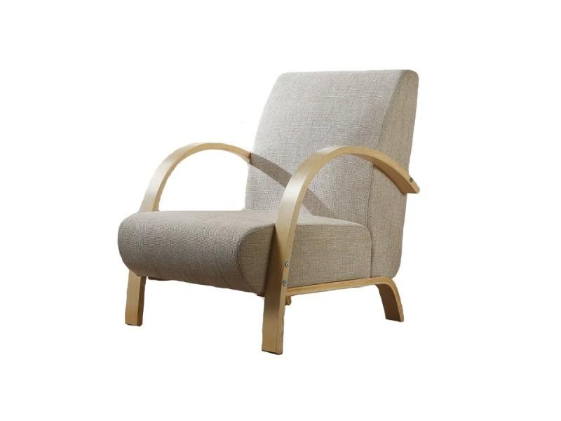 fauteuil sofa design bois et tissu beige vente de monmobilierdesign conforama - Fauteuil En Bois
