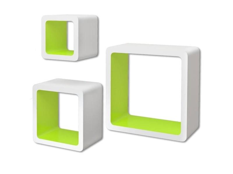 Vidaxl 3 etagères cubes murales et en mdf blanc-vert pour livres/dvd 242171