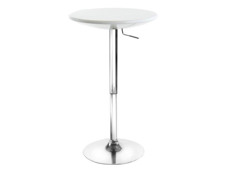 Table haute de bar dominik table bistrot ronde hauteur réglable avec plateau tournant en plastique blanc et socle en métal chromé