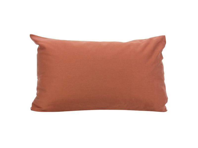 Taie d'oreiller 70x50 cm uni satin de coton opera marron foncé