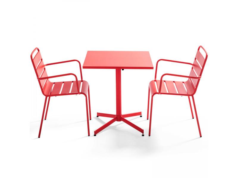 Table de jardin bistrot rabattable carrée en métal et 2 fauteuils palavas 2 places acier rouge