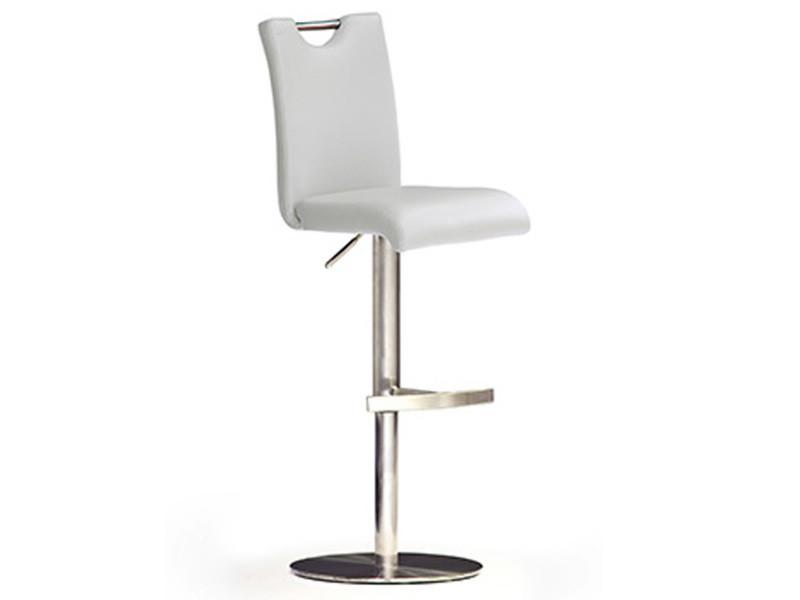 Tabouret de bar en pu socle rond en métal rotation 360° coloris blanc - dim : l 42 x p 52 x h 97-118 cm -pegane-