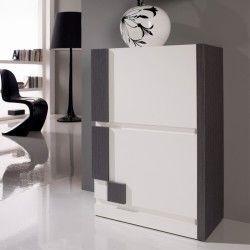 Meuble à chaussures blanc/cendre - louba - l 60 x l 31.6 x h 87.3 - neuf