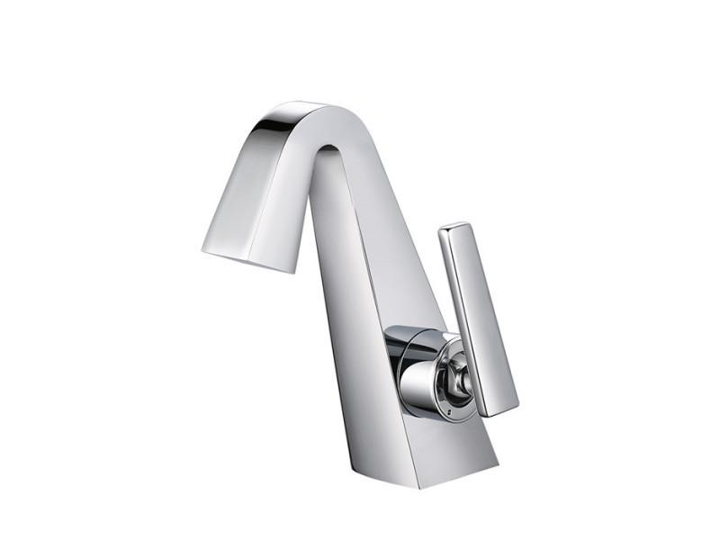Robinet salle de bain chromé mitigeur de lavabo design élégant robinet à deux voies corps en laiton mousseur abs neoperl - homelody