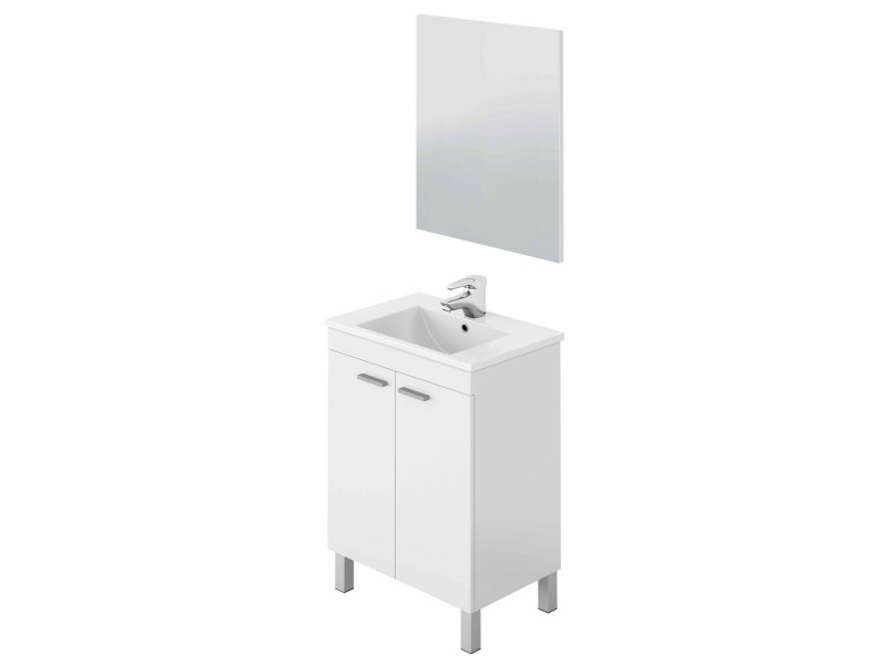 Meuble salle de bain sous-vasque 60 cm avec 2 portes + miroir coloris blanc brillant - h80 x longueur 60 x profondeur 45 cm