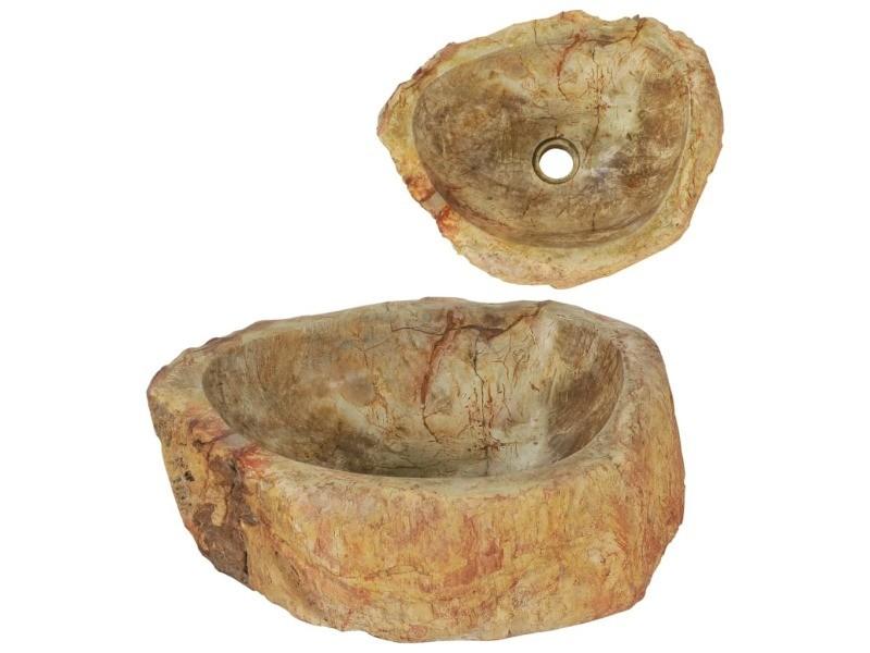 Sublime équipements sanitaires ligne katmandou évier 45 x 35 x 15 cm pierre fossile crème