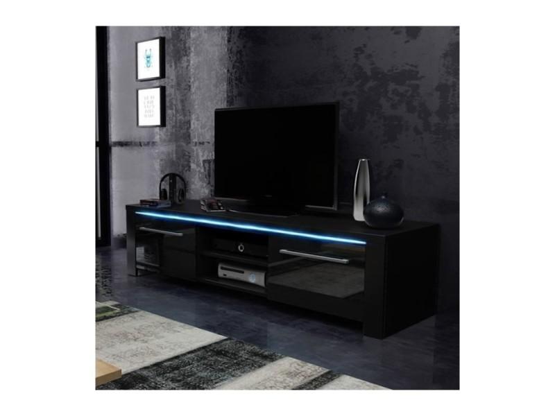 Meuble tv design manhattan 140 cm à 2 portes et 2 niches coloris noir mat et noir brillant + led