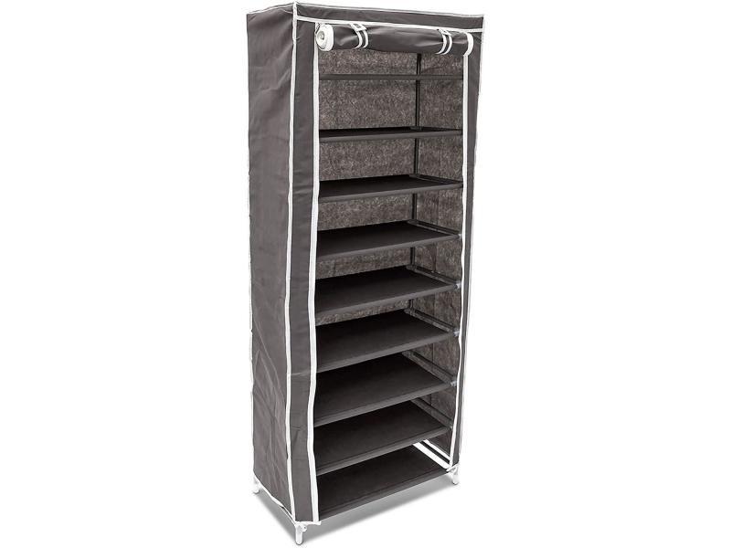 Armoire étagères à chaussures en tissu pliante 36 paires de chaussures gris helloshop26 13_0000255