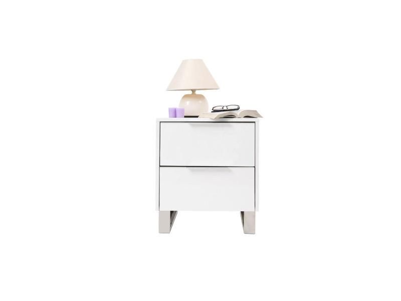Table de chevet design laquée blanche halifax