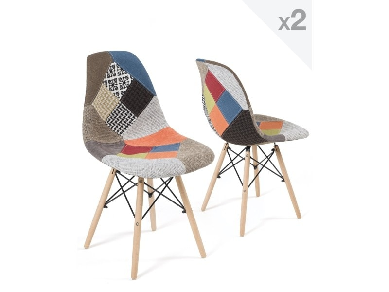 kayelles nadir lot de 2 chaises scandinave patchwork 246 nadir patchwork vente de chaise. Black Bedroom Furniture Sets. Home Design Ideas