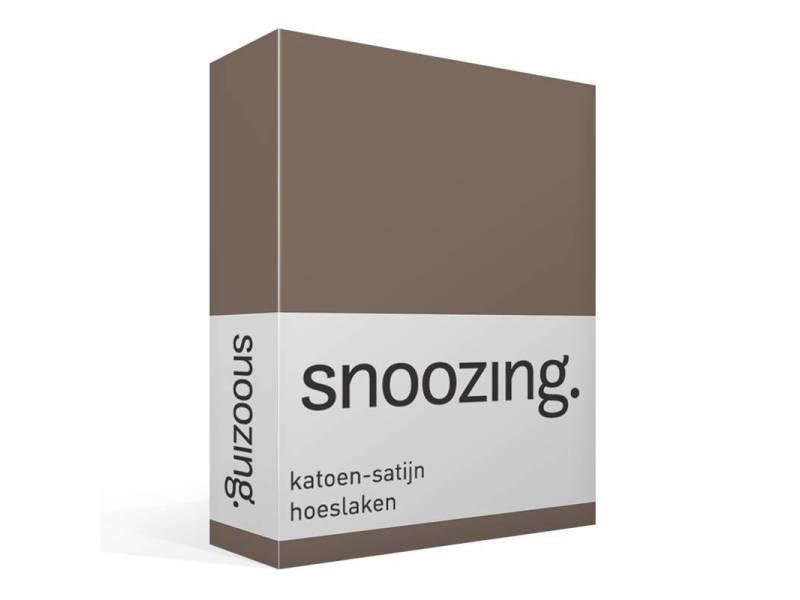 Snoozing - drap-housse en satin de coton - 140x220 cm - marron SMUL102167412