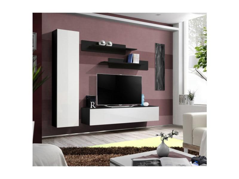 Ensemble meuble tv mural - fly i - 210 cm x 190 cm x 40 cm - noir et blanc
