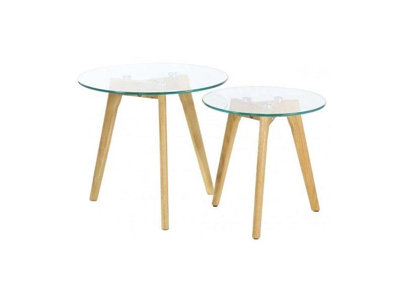 Tables gigognes en verre trempé (lot de 2)
