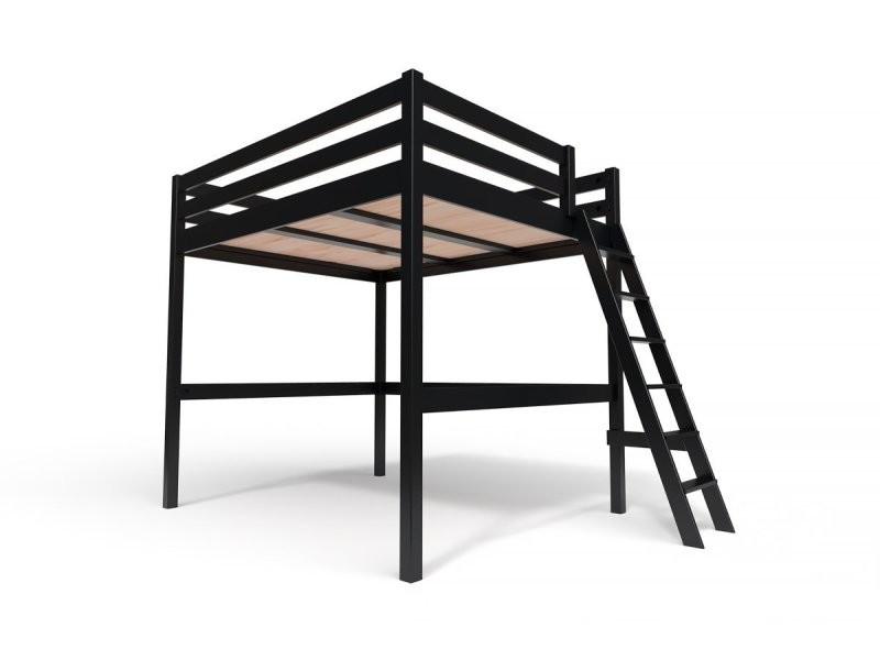 Lit mezzanine sylvia avec échelle bois 160x200 noir SYLVIA160ECH-N