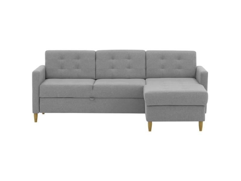Canapé d'angle olia convertible et réversible en tissu - couleur - gris clair