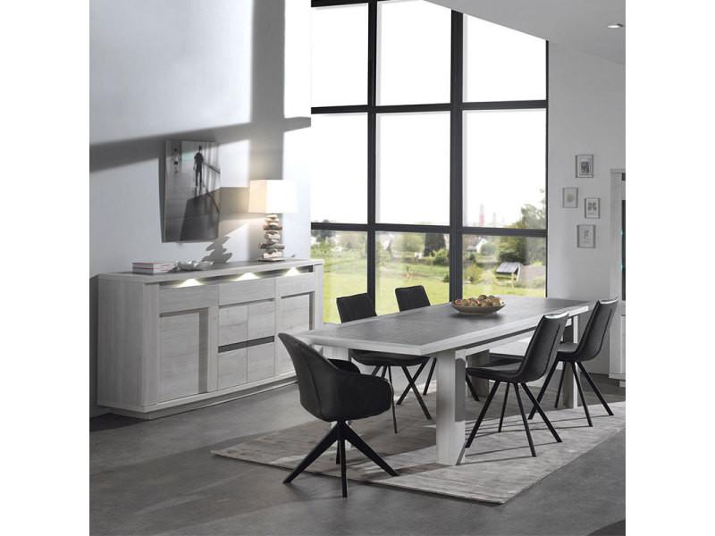Salle à manger moderne couleur chêne blanc et gris childeric - Vente ...