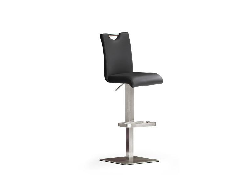 Tabouret de bar en cuir socle carré en acier brossé rotation 180° coloris noir - dim : h 91-116 x 40 x 50 cm -pegane-