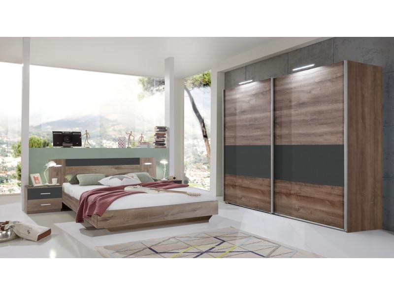Ensemble chambre adulte lit futon avec éclairage led - 160 x 200 cm -pegane-