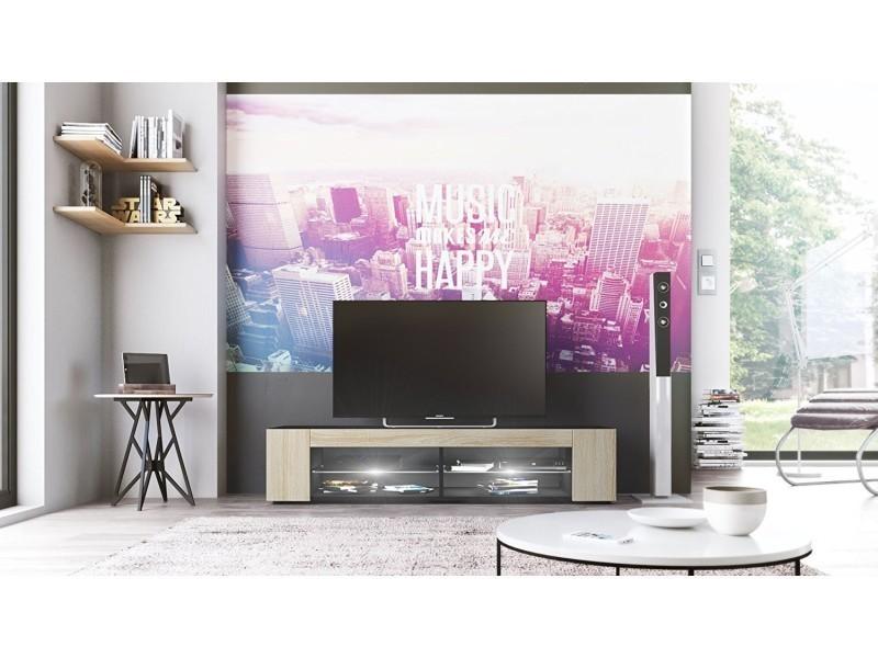 Meuble tv noir mat façades en chêne brut mdf led blanc