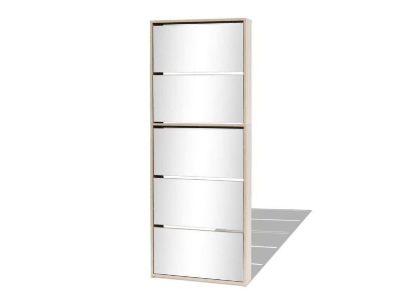 Icaverne - etagères et casiers à chaussures collection meuble à chaussures 5 étagères et miroir 63x17x169,5 cm chêne