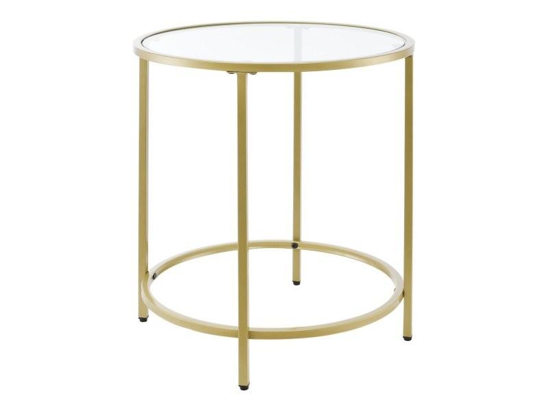 Table d'appoint pour salon ronde plateau en verre pieds en acier 55 cm doré helloshop26 03_0006185