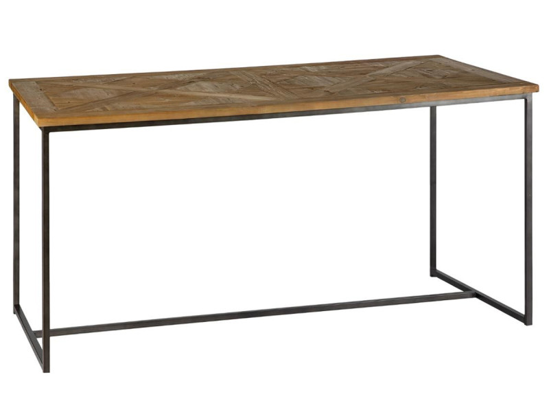 Console en bois de pin recyclé avec marqueterie et pieds en métal noir - l.110 x l.39 x h.79 cm -pegane-