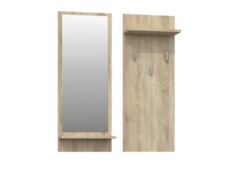 Kameron - porte-manteau d'entrée hall - 3 grands crochets à vêtements - dimensions : 90x35x16 - étagères pratiques - miroir - sonoma