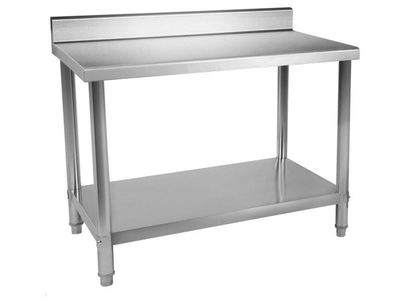 Table de travail professionnelle acier inox pieds for Table inox cuisine professionnelle