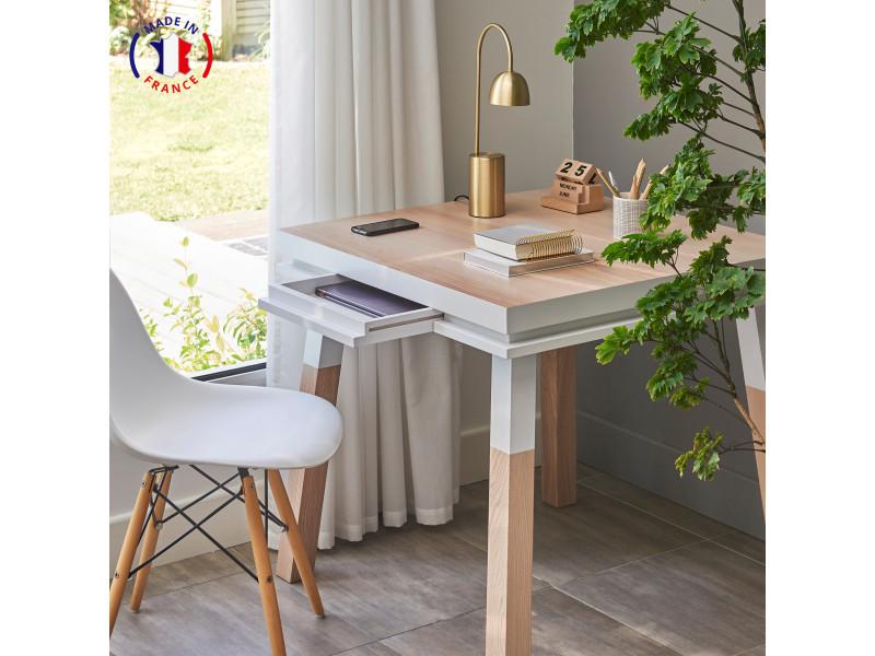 Bureau carré avec tiroir en frêne massif 80x80 cm blanc balisson - 100% fabrication française
