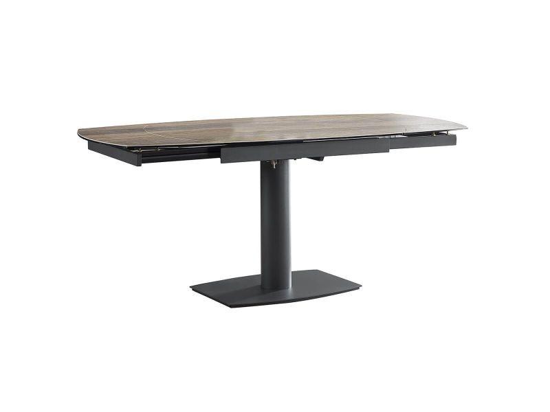 Pikam - table de repas allongeable céramique bois clair