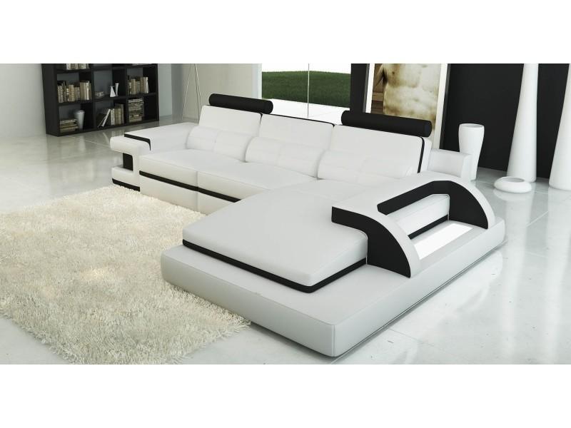 Canapé d'angle cuir blanc et noir design avec lumière ibiza (droit)-
