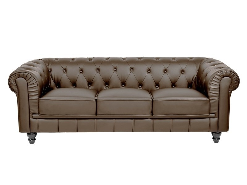 canap 3 places marron chesterfield conforama. Black Bedroom Furniture Sets. Home Design Ideas