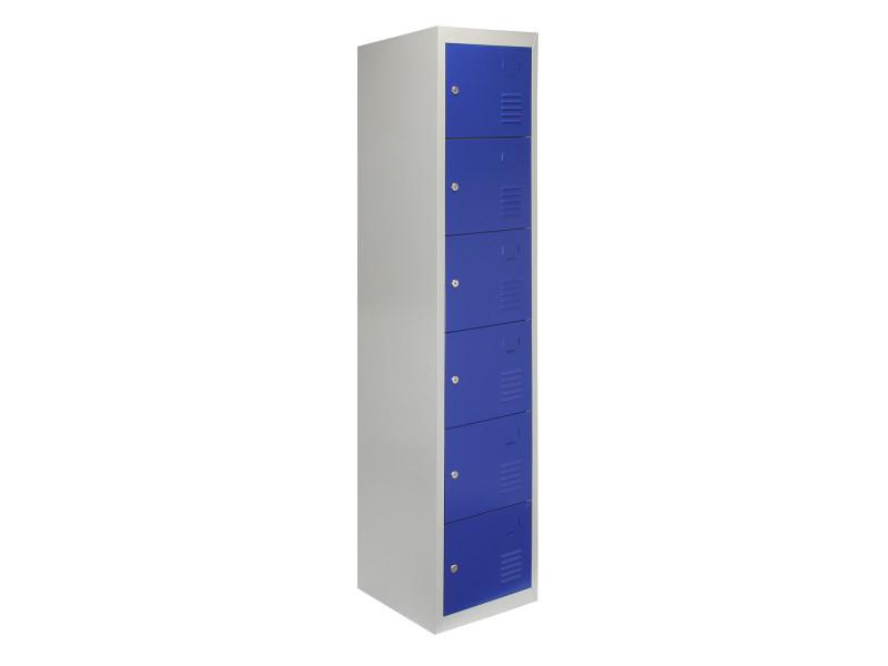 Casiers rangement acier - six portes, bleu