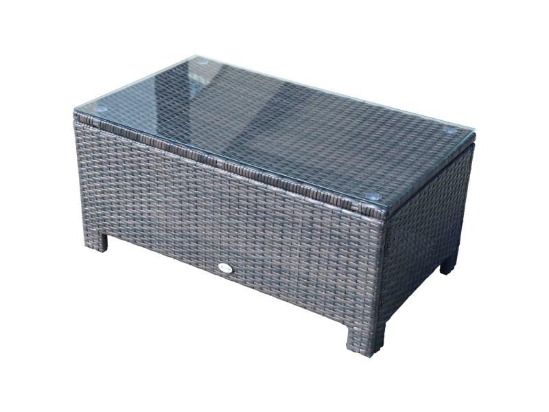 Table basse de jardin plateau verre trempé 5 mm rotin tressé 85 x 50 x 39cm max. 50 kg marron