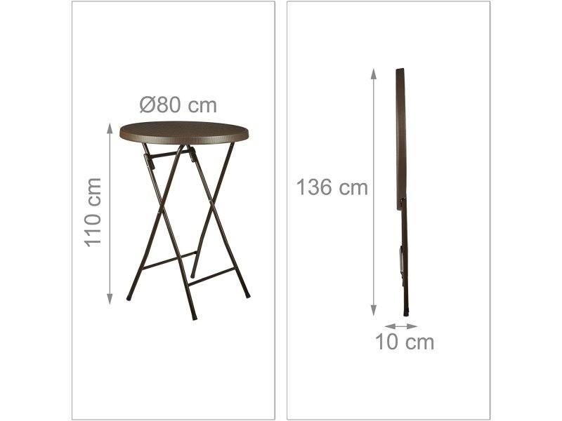 Table haute ronde pliante jardin camping marron helloshop26 13_0002713