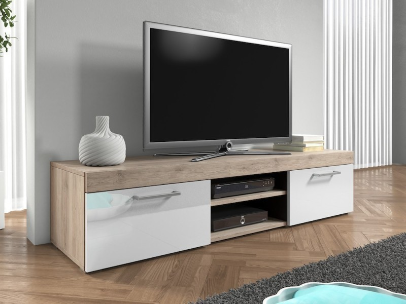 Meuble Tv 140 Cm Aspect Chêne Mat Et Portes Laquées Blanc Vente De