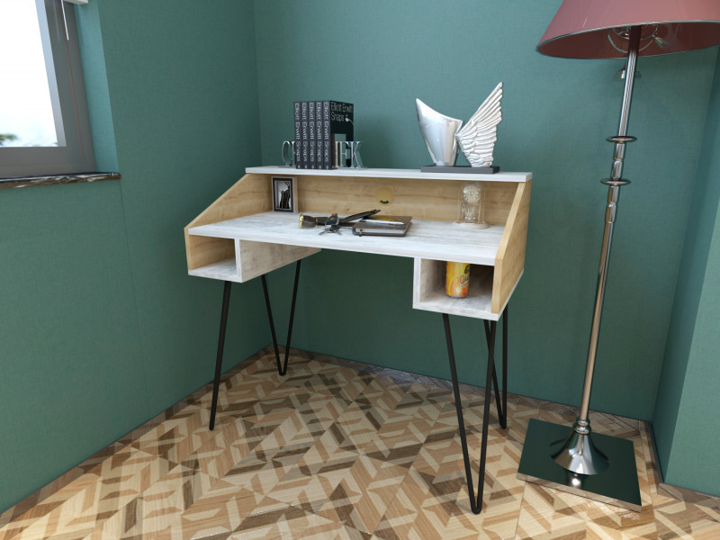 Bureau design sharp motif bois vieilli blanchi et chene vieilli