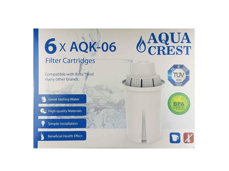 Pack x 6 cartouches filtrantes aquacrest aqk06 pour brita classic , laica multiflux, bwt gourmet mg²+